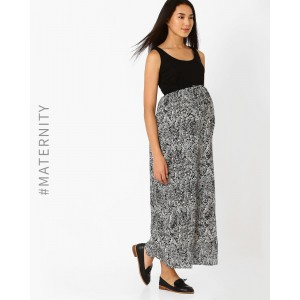 Preggear Black & White Empire-Waist Maternity Dress