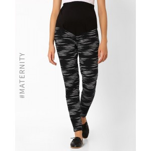 Preggear Black Printed Maternity Pants