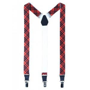 Alvaro Castagnino Red & Blue Checked Suspenders