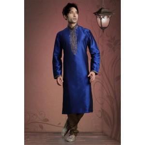 Royal Blue Cotton Zari Work Sherwani