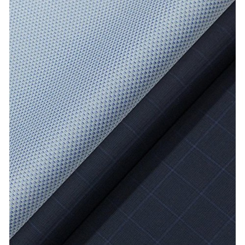 a0de888e0fb ... Raymond Royal Blue Broad Check Trouser Fabric With Exquisite Blue  Structured Weave Shirt Fabric ...