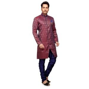 Maroon Dupion Silk Sherwani for Men