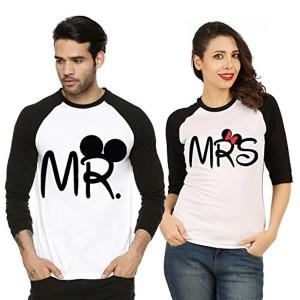 Fanideaz Black And White Cotton Printed Couple T Shirt