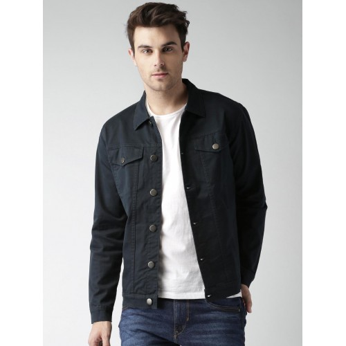 Buy Mast & Harbour Navy Blue Denim Jacket online   Looksgud.in