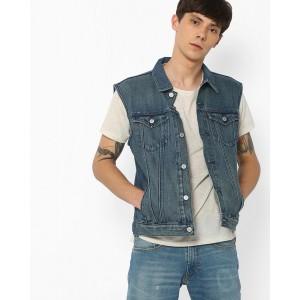 LEVIS Blue Sleeveless Denim Jacket with Flap Pockets