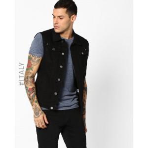 ALCOTT Black Denim Jacket with Flap Pockets
