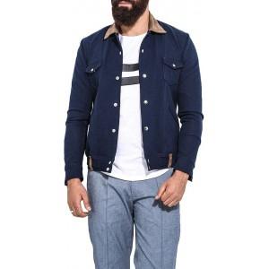 Mr Button Blue Full Sleeve Solid Denim Jacket