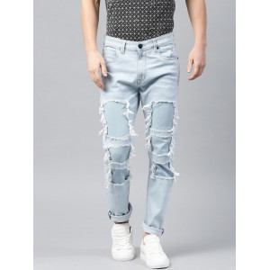 HRX by Hrithik Roshan Light Blue Slim Tapered Fit Mid-Rise Mildly Distressed Jeans