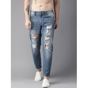 Moda Rapido Blue Slim Tapered Fit Mid-Rise Mildly Distressed Jeans