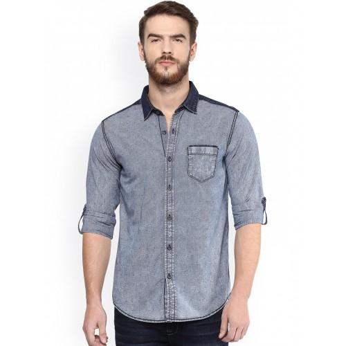 5248611e9f Buy Mufti Blue Slim Fit Checked Denim Shirt online