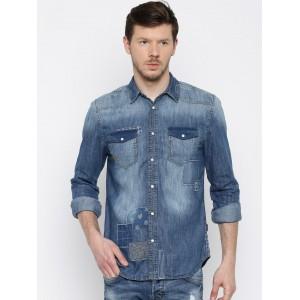 Jack & Jones Blue Regular Fit Faded Casual Shirt