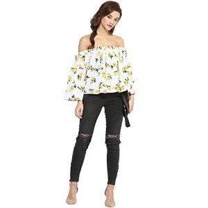 AHALYAA Ahalyaa Summer Lemon Print Ruffled Off Shoulder Top for Women