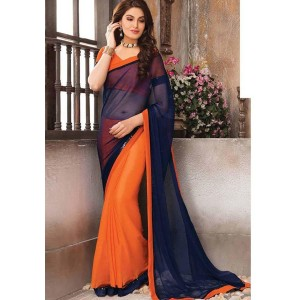 Indian Beauty Navy Blue And Orange Georgette Solid Half and Half Saree