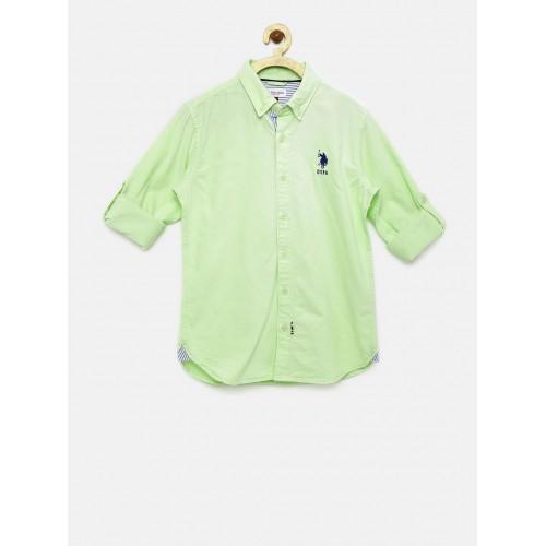 84d9cb6403d Buy U.S. Polo Assn. Kids Boys Green Casual Shirt online