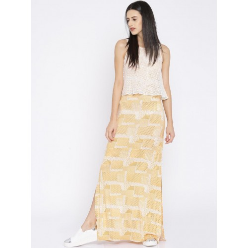 890b21a154 Buy AND Yellow & White Printed Maxi Dress online   Looksgud.in