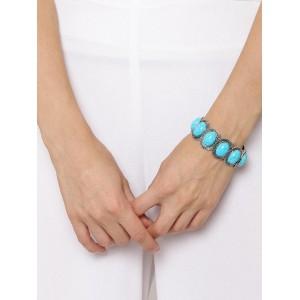 ToniQ Oxidized Silver-Toned & Aqua Blue Beaded Bracelet