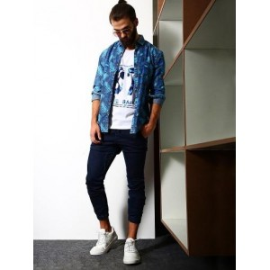 Abof Blue Shirt And White Tees Tropical Layers