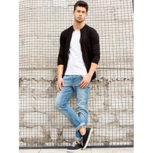 Black Jacket And White Tees With Jeans And Casual Shoes