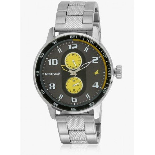 Fastrack 3159Sm02 Silver/Grey-Yellow Analog Watch