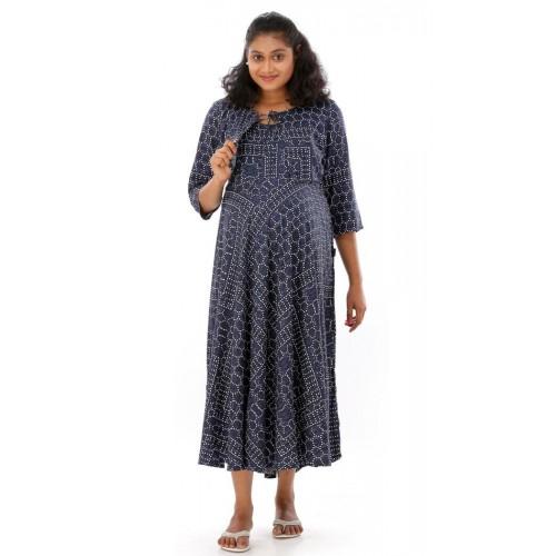 ebc62b9aa074d Buy Ziva maternity wear Blue Cotton Printed Maternity Wear online ...