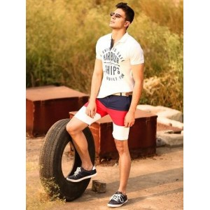 Abof White Tees With Colour Block Shorts And Casual Shoes