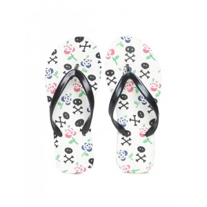DressBerry Women Black & Off-White Printed Flip-Flops