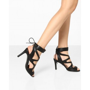 AJIO Tie-Up Stilettos with Cut-Outs