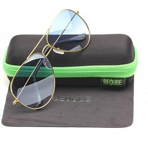 Beqube Golden Fram Oval Aviator Sunglasses