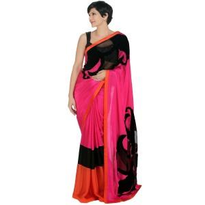 Mandira Bedi Pink Hand Embroidered Satin Georgette Saree