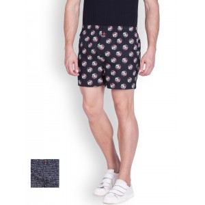 ONN Navy Blue Cotton Printed Boxers-Pack Of 2