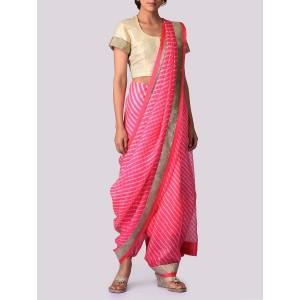 VIDHI SINGHANIA Pink Kota Silk Leheriya Print Saree