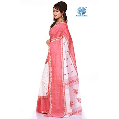 ac6378588c ... Bengal Handloom Saree Bengal Handloom Saree Cotton Saree (White And Red)  ...