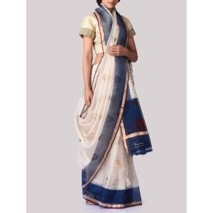 VIDHI SINGHANIA Cream Printed Cotton Blend Saree