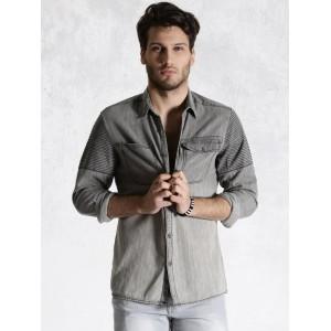 RDSTR Grey Washed Casual Denim Shirt