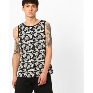 AJIO Black & White Printed Vest