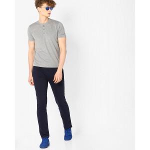 John Players Grey & Navy Blue Henley T-shirt with Pyjamas