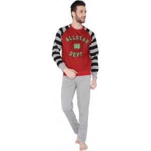 Valentine Men's Red Top & Pyjama Set