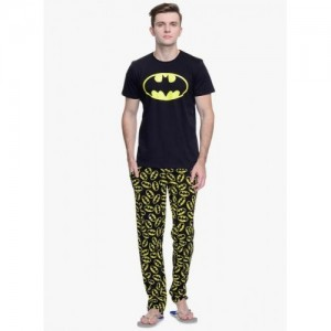 Batman by Free Authority Black & Yellow Men's Cotton Pyjama Set
