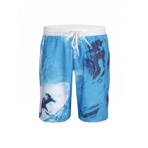 Gini and Jony Boys Blue & White Printed Shorts
