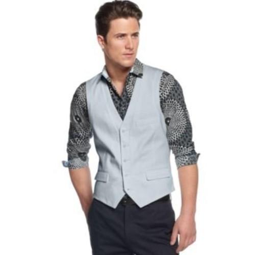 INC International Concepts Sky Blue Cotton Solid Waistcoat