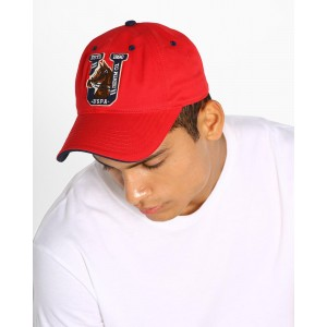 US POLO Red Baseball Cap with Applique Branding