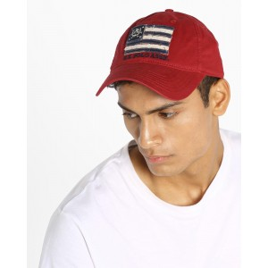 US POLO Red Panelled Cap with Curved Visor