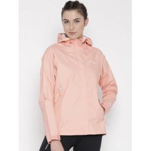 Columbia Peach Nylon Polyester Solid Hooded Rain Jacket