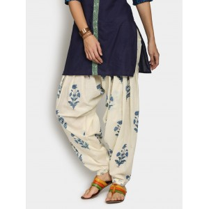 Abof Off-white & Blue Printed Patiala Pants