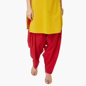 MAX Red Cotton Solid Patiala Salwar