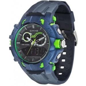 Sonata 77045PP04J Blue Round Analog-Digital Watch