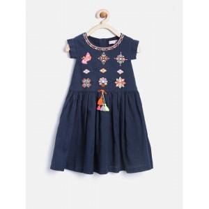Nauti Nati Girls Navy Embroidered Fit & Flare Dress