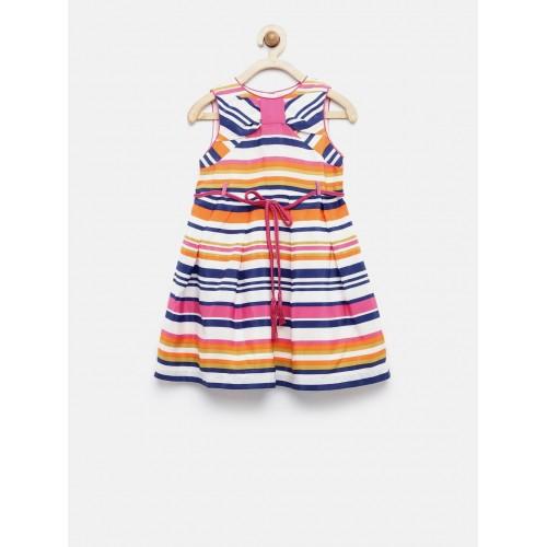 92580bb62 Buy Nauti Nati Girls Multicoloured Striped Fit   Flare Dress online ...