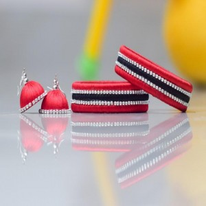 Silk Thread Multicolor bangles with earings set
