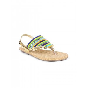 Shoetopia Multicolor Synthetic Embellished Flats Sandals